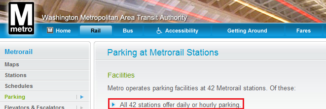 Parking at Metrorail Stations