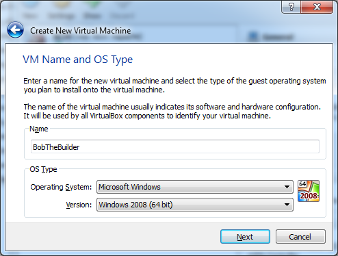 VirtualBox VM Name and OS Type Screen for Windows VM