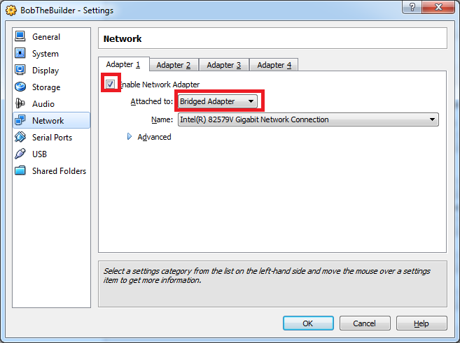 Bridged Network Adapter Setup