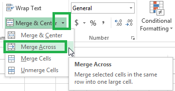 Merging across lets you do a merge and center, but for multiple rows.