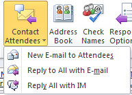 Screenshot of Contact Attendees Button
