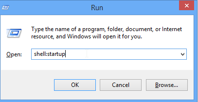 "Run dialog with ""shell: startup"" in the box"