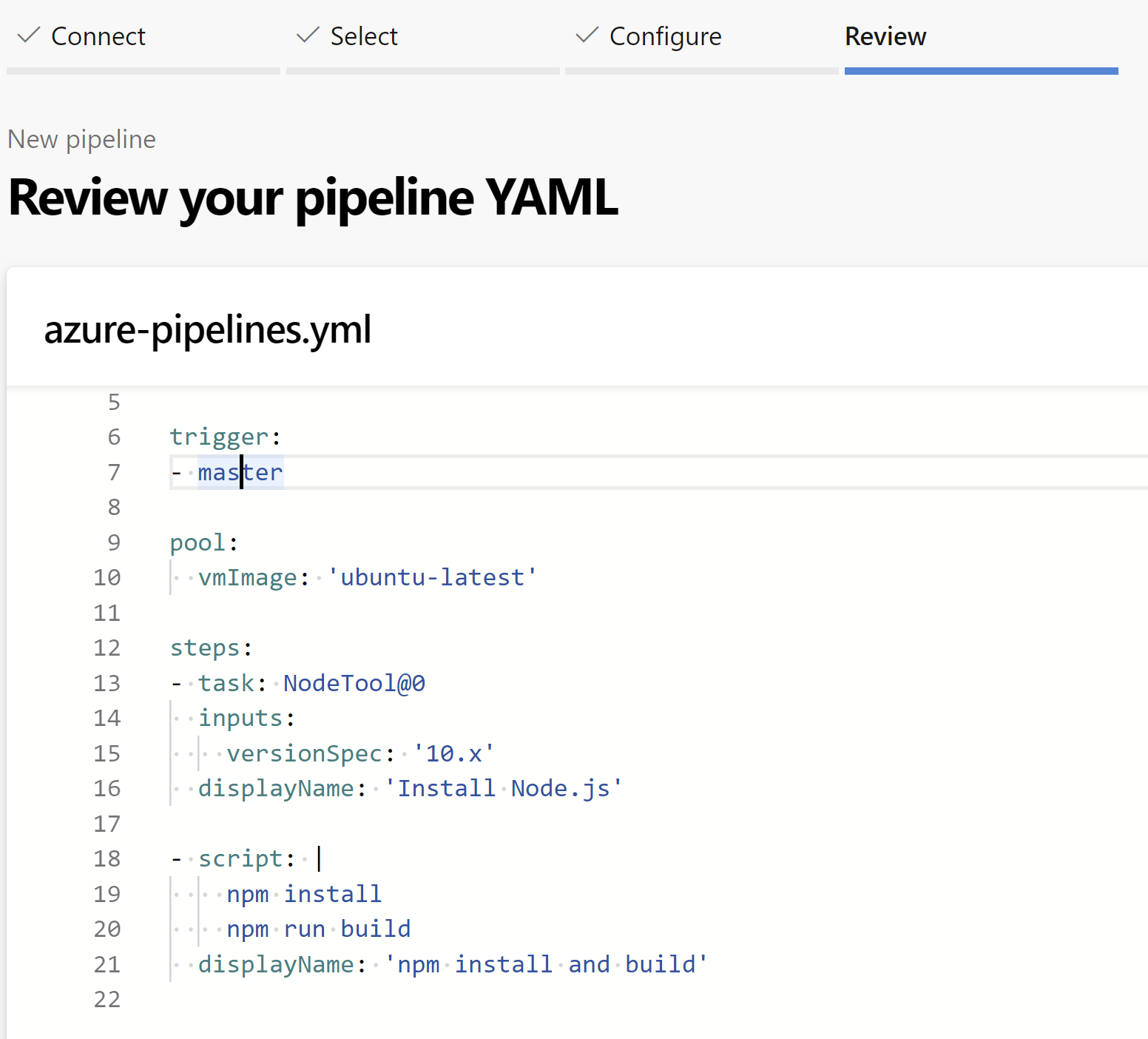 the YAML file that is created for us