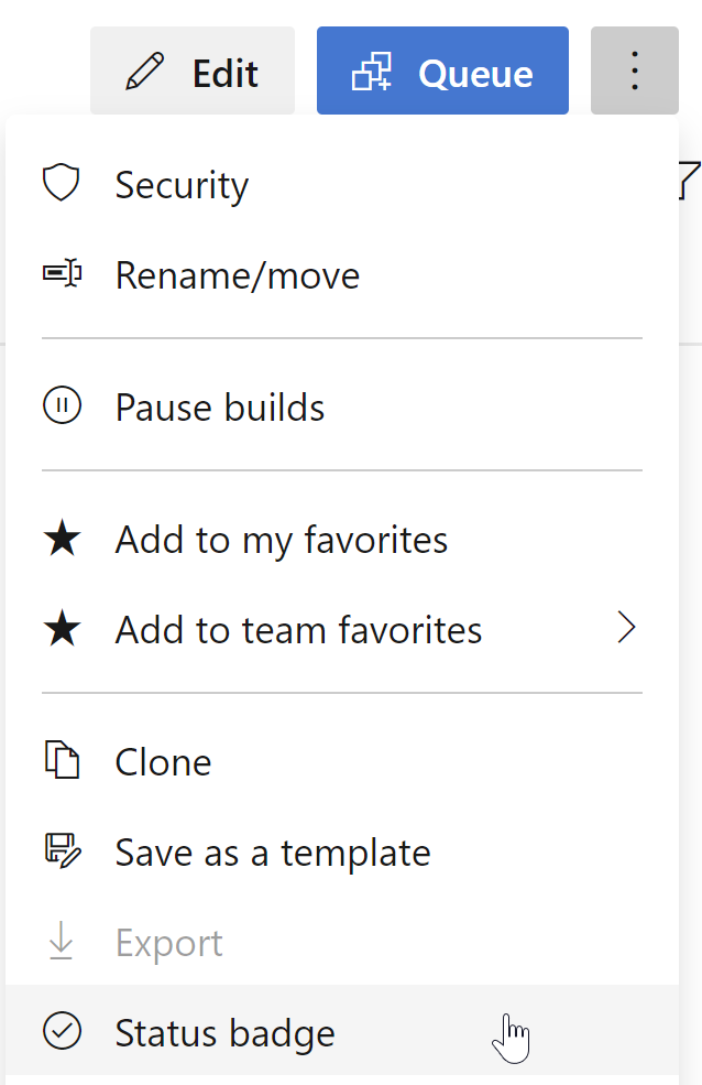 build menu dropdown