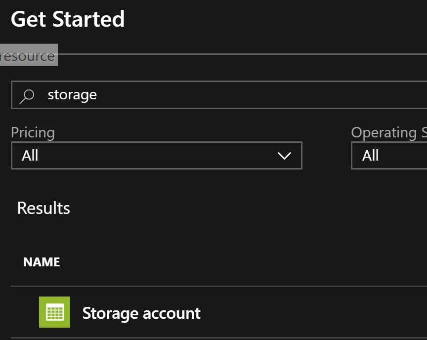 selecting the storage type