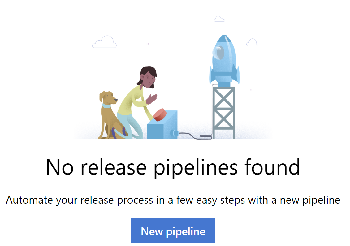 screen showing no release pipelines