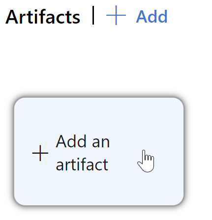 clicking the button to add an artifact