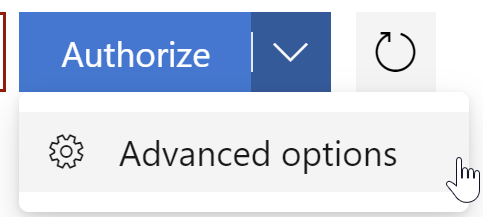 the dropdown button on the authorize menu that shows advanced options