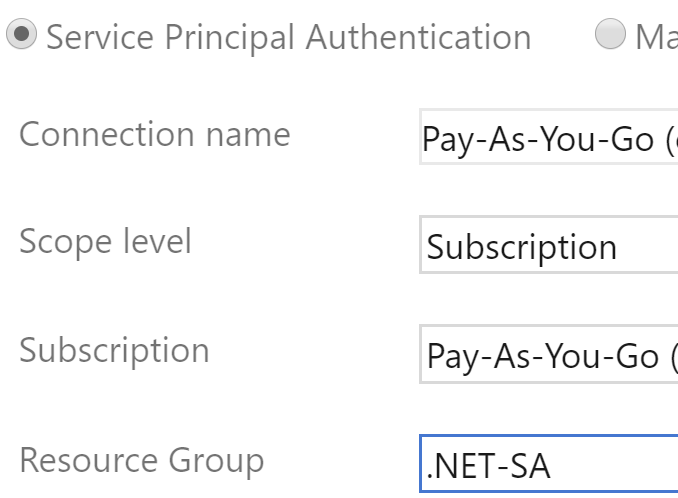selecting a specific resource group rather than a whole subscription