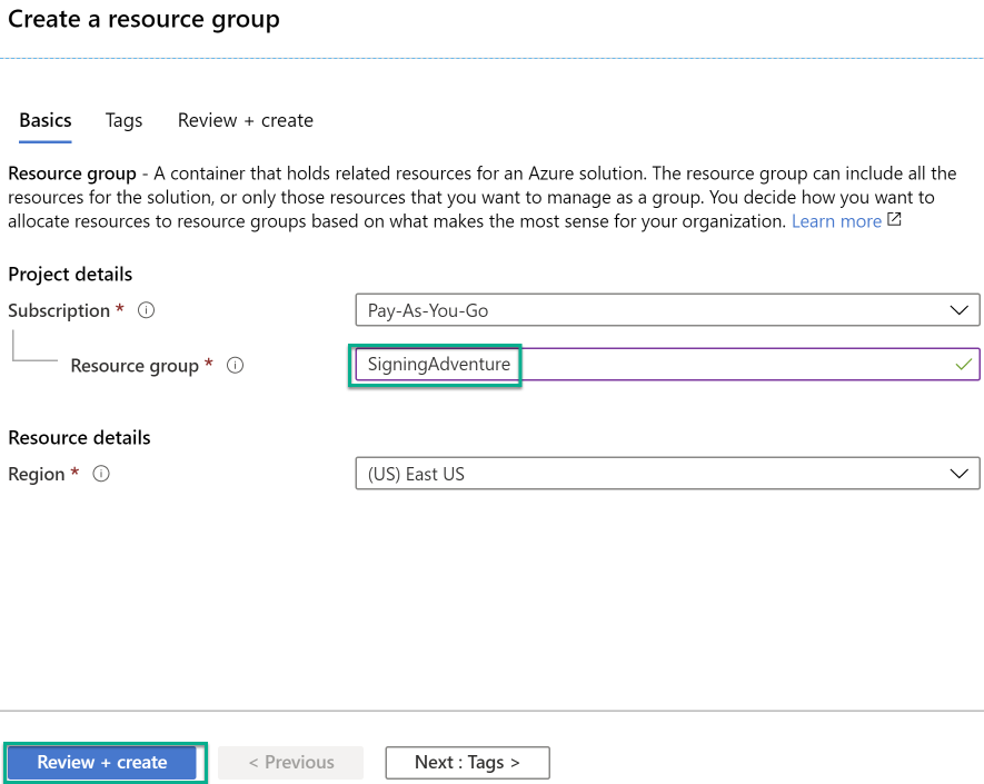 Resource Group Settings