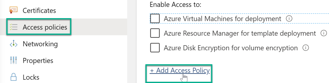 Add access policy link