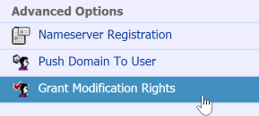 A screenshot of the location of the 'grant modification rights' screen