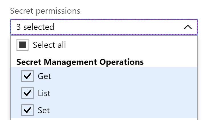 Selecting the secret permissions
