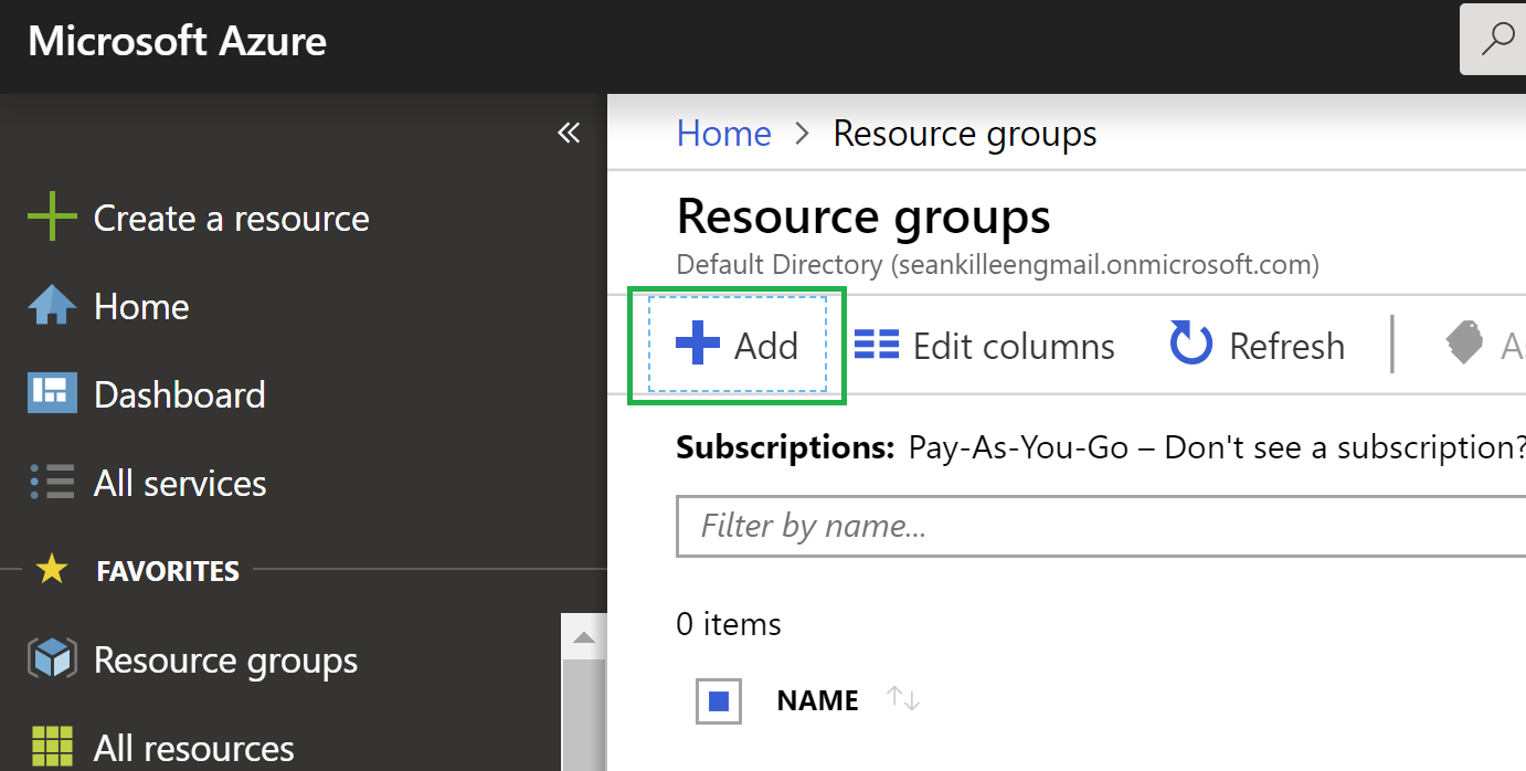 The add resource group button