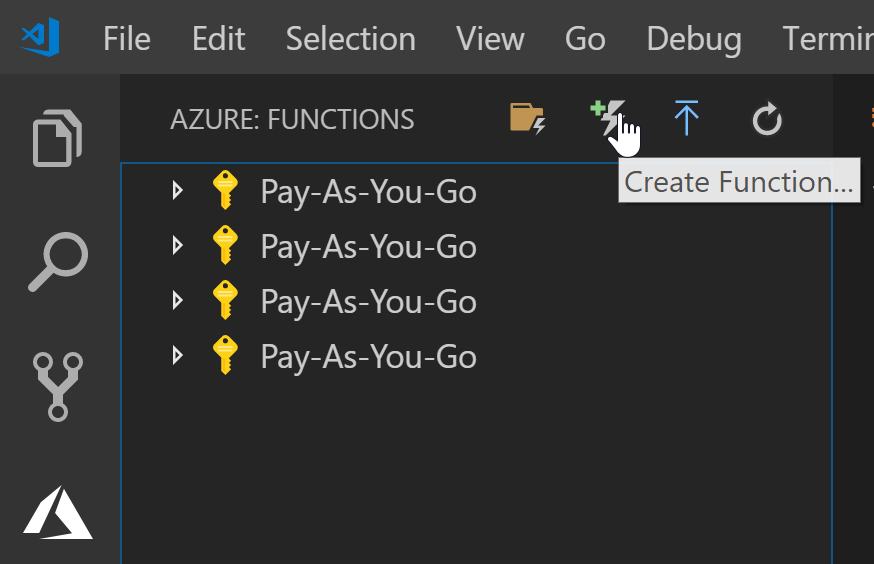 Create function button within VS Code