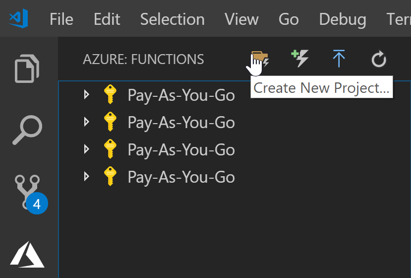Button to create a new azure functions project