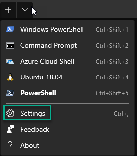 The settings link in in the shell list