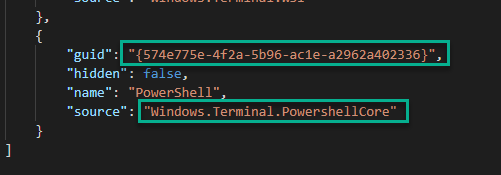 The profile entry for powershell core in the terminal settings, showing the unique identifier for it
