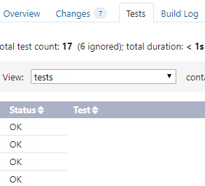 Tests in the build's tests tab