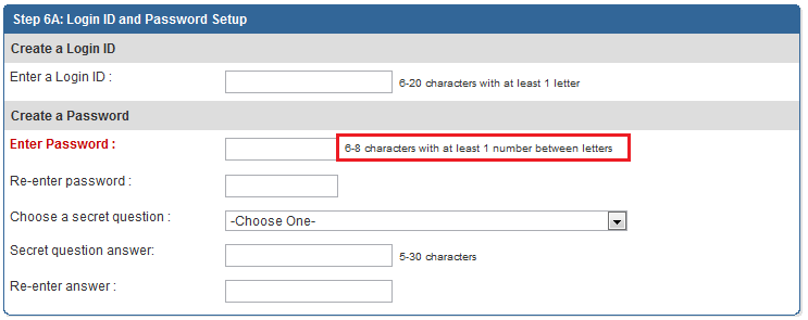 Schwab bad Password Screen