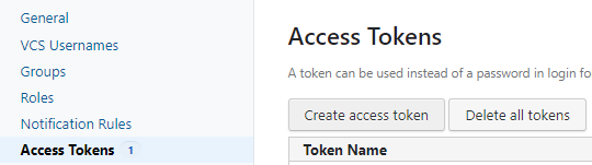 the menu for creating an ccess token