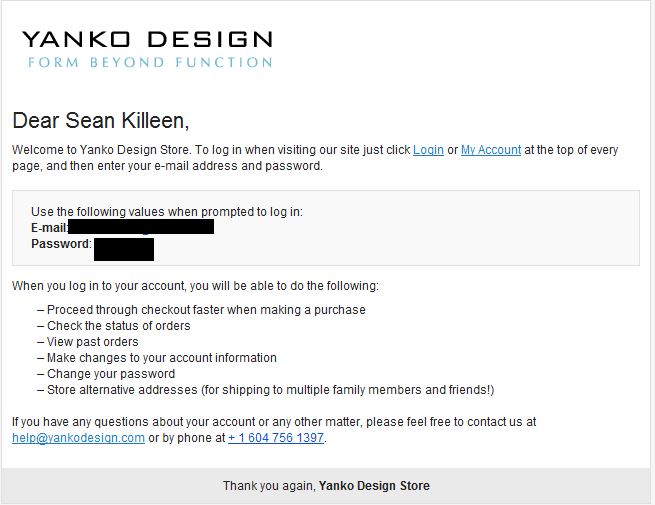 Yanko Design welcome e-mail